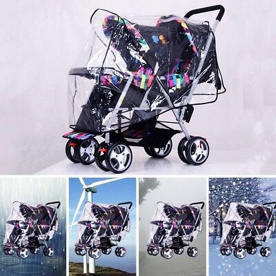 Twins Baby Stroller Rain Cover Double Pushchair PVC Windshield Raincoat Canopies