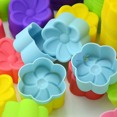 10Pcs Frangipani Silicone Cake Muffin Pudding Baking Cups Mould Jello Liner Mold