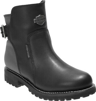 Harley-Davidson® Women's Cinder Waterproof Black Leather Motorcycle Boots D87167