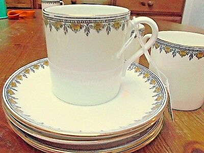 4 x Collingwood China Coffee Cans & Saucers Gilded