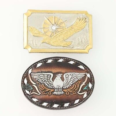 Set of 2 Eagle Belt Buckles Leather Metal Patriotic Western Vintage Americana
