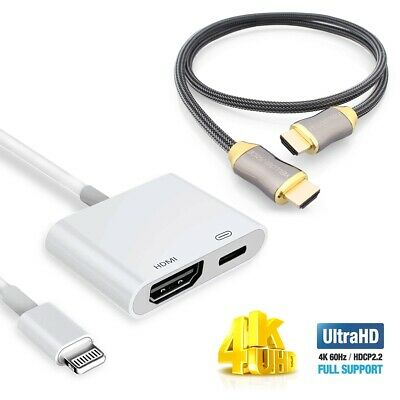 UHD 4K Lightning to hdmi adapter + Braided 3ft 6ft 10ft HDMI Cable For iPhone CA