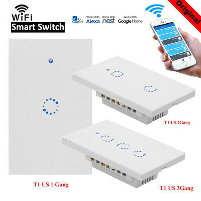 1/2/3Gang Smart Touch Light Wall Switch WiFi RF APP Remote Control for Sonoff T1