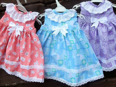 Dream 0-3 Years Lilac Blue Peach Summer  Sundress Or Reborn Dolls