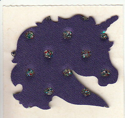 Very Rare Vintage June Kessler Satin and Glitter Purple Unicorn Sticker