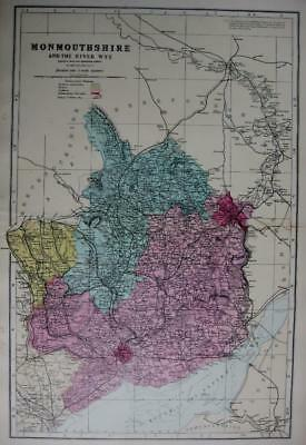 MONMOUTHSHIRE MONMOUTH  ANTIQUE MAP WITH HAND COLOUR WASH BY GEORGE BACON  c1881