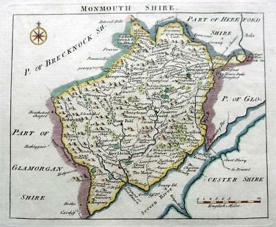 MONMOUTHSHIRE MONMOUTH NEWPORT c1769 BY JOHN ROCQUE GENUINE ANTIQUE MAP