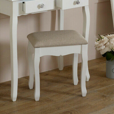White painted dressing table stool beige fabric upholstered seating French chic