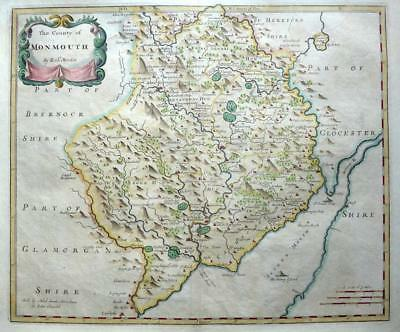 MONMOUTHSHIRE  MONMOUTH NEWPORT ROBERT MORDEN c1722 GENUINE ANTIQUE ENGRAVED MAP