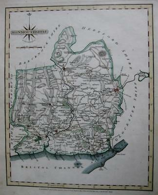 MONMOUTHSHIRE  MONMOUTH  BY JOHN CARY GENUINE ANTIQUE MAP  c1793