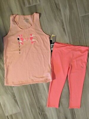 Youth girls spring summer outfit Tank top capri pants Under Armour Puma NWT