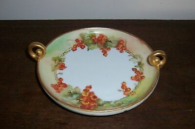 Fancy Hand Painted Round Dish / Plate / Gold Trim & Curled Handles - Bavaria