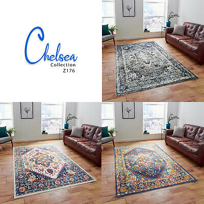 A2Z Grey Navy Cream Rug Persian Assorted Floral Detail Dining Room Runner Carpet