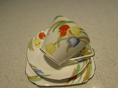 Stunning Deco Taylor&Kent Hand painted Tea Trio Weeping Floral 1930's