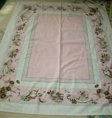 "1940'S Vintage 100% Cotton Tablecloth Small Holes.50"" X 62"" Cutter"