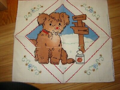 """Baby Pillow Antique 1920'S Hand Embroidered Boudoir Pillow Case 19Th 16"""" By 17"""""""