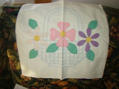 """Antique 1940'S Hand Embroidered Boudoir Pillow Case 19Th 17"""" By 17"""""""