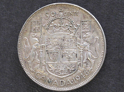 1946 Canada Fifty Cents Silver George VI Canadian Coin D7605
