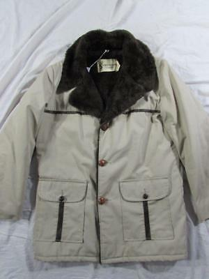 Vtg 60s 70s Sovereign Cotton Jacket Coat Fleece Lined Mod Hollywood Ranch Sherpa