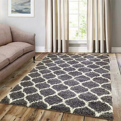 Multiple Colours Quality Long Pile Bedroom Lush Rugs Trellis Detail Hall Runners