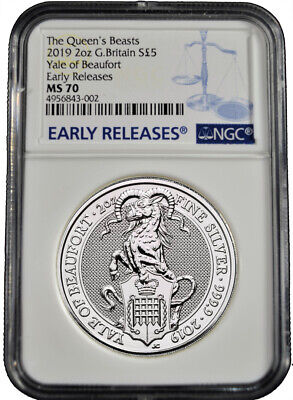 2019 U.K. £5 NGC MS 70 Queens Beast Yale of Beaufort 2 oz .9999 Silver Coin b591