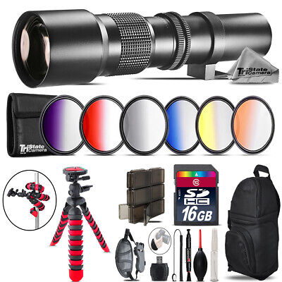 500mm Telephoto Lens for Nikon D3100 D3200 + Triple Tripod Bundle - 16GB Kit