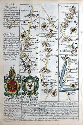 DEVON  EXETER  BARNSTAPLE  ILFRACOMBE   BY EMANUEL BOWEN GENUINE ANTIQUE c1720