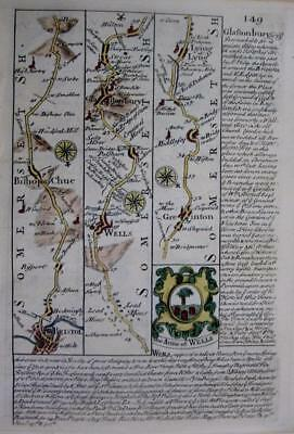 SOMERSET DEVON BRISTOL EXETER TAUNTON  BY EMANUEL BOWEN GENUINE ANTIQUE c1720