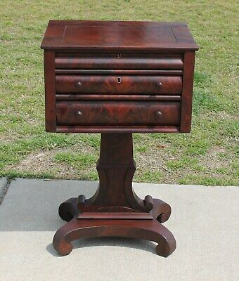 American Empire Flamed Mahogany Sewing Work Table Stand Circa 1840's