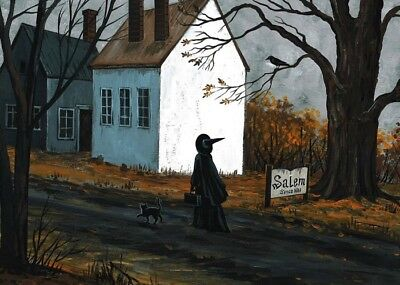 Aceo Print Of Painting Ryta Halloween Salem Witch Sign Haunted House Black Cat