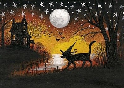 Aceo Print Of Painting Ryta Halloween Black Cat Witch Haunted House Folk Art
