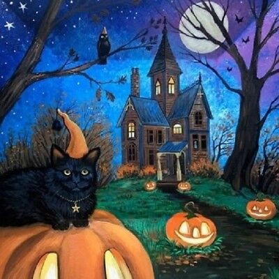 11X14 HALLOWEEN print of  PAINTING RYTA WITCH BLACK CAT MOON Haunted House Art