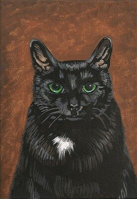 Aceo Print Of Painting Ryta Black Tuxedo Cat Portrait Gothic Halloween Witch Pet