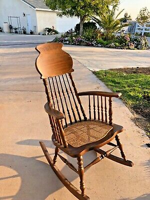 Antique Carved Oak/Pressed Full Size Victorian Spindle Rocking Chair W/Cane Seat