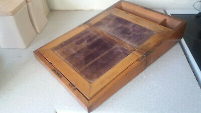 Lovely Vintage Wooden Writing Box Slope - 12 X 8 1 1/2  X 5 Inches