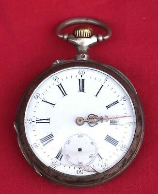 French Sterling Silver Pocket Watch Jewels Movement Enamel Dial 1900