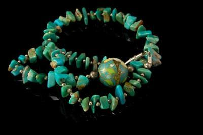 Vintage Chinese Green Turquoise Cloisonne Bead Sterling Silver Necklace D80-12