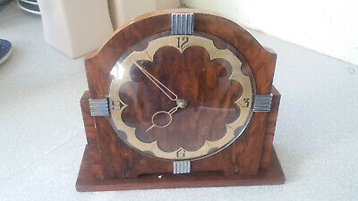 Lovely Vintage Art Deco Wooden / Chrome -Smiths- Mantel Clock - Needs Work