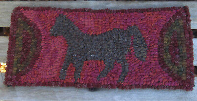 Brown Plaid Horse Primitive Rug Hooking KIT w/ Cut Wool Strips on Monks Cloth