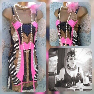 forever unique pink black gold sequin bead 20s gatsby Party evening dress 14 42