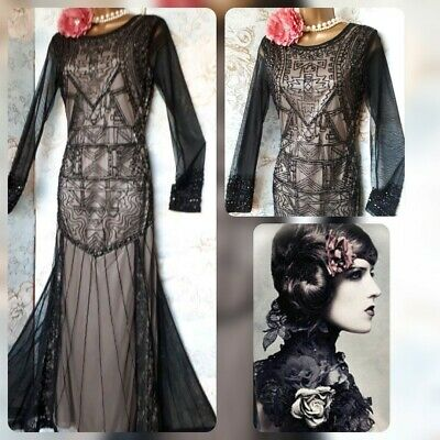 vintage frock & frill black Victorian lace bead 20s gatsby goth evening dress 10
