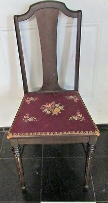Vintage Chair With Needlepoint Seat, Estate Find, Label Peru Chair Works, USA