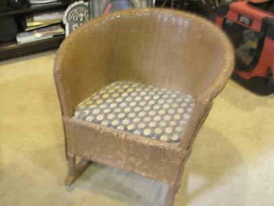 Vintage MCM Doll Baby Child's Rocking Chair Rocker Wicker Wooven 16 x 18 x 16""