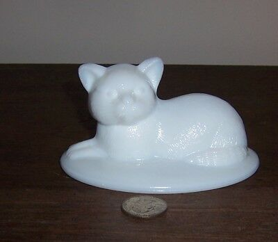 Cute Cat Figurine - Oval Lid for Westmoreland Milk Glass Candy Dish - Kitten