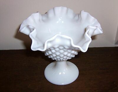 Hobnail Pedestal Bowl / Dish - Ruffled Crimped Rim - Unmarked Fenton Milk Glass?