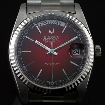 Bulova Super Seville Day Date Red Gradation Dial Sapphire Crystal Changed Watch