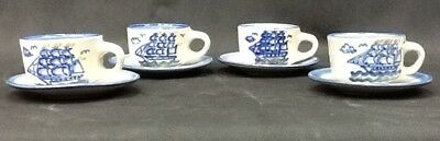 "M.A. Hadley ""Low Tide"" 4 Cups with Saucers With Sailing Ships"