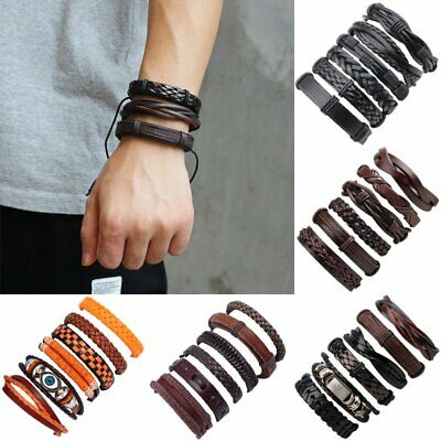 6pcs/Set Fashion Mens Leather Wrap Braided Bracelet Punk Wristband Cuff Bangle