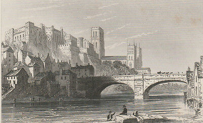 1846 Five Antique Prints - DURHAM COUNTY - Cathedral, Barnard Castle, Hartlepool