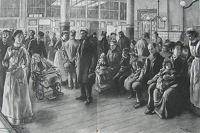 1895 Large Antique Print - Royal London Hospital - Waiting Room on Receiving Day